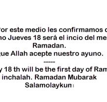 Aviso: Ramadan 2015